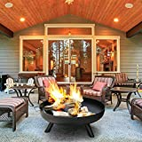 Large Cast Iron Garden Fire Pit Basket for Party,Outdoor Heater Wood Burning,Large Round Fire Pit,Heavy Duty Rust Proof Metal Fireplace for Charcoal Burning