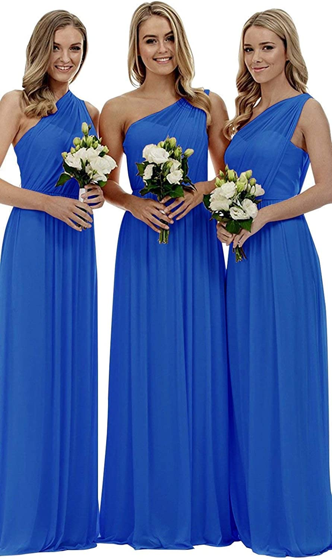 Anna's Bridal Women's One Shoulder Bridesmaid Dresses Long 2019 Bridesmaid Dress