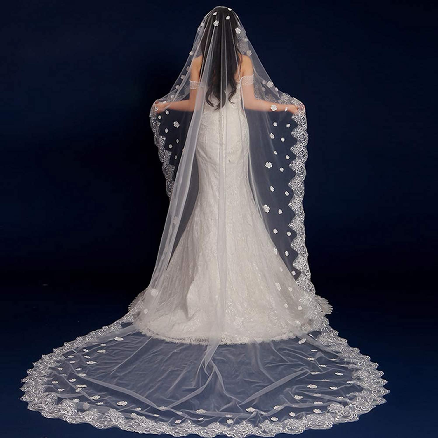 Bridal Veil  1 Tier Lace ThreeDimensional Flowers Cathedral Wedding Veil Long Tailed Luxury Wedding Veil for Bride to Be Night Party Dress Accessories, White(300cm Length),C,300CM