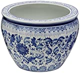 Oriental Furniture 14' Floral Blue & White Porcelain Fishbowl