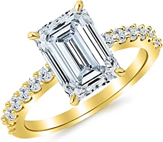 2.2 Ctw 14K White Gold Classic Side Stone Prong Set Emerald Cut GIA Certified Diamond Engagement Ring (1.7 Ct H Color VS1 Clarity Center Stone)