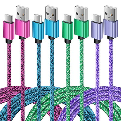 Type C Cable Fast USB C Charging 6FT 4Pack Nylon USB Cable Phone Charger Cord for Samsung Galaxy S21 Note 20 S9 S10 S20 FE A10e A01 A11 A20 A21 A51 A50,LG Stylo 6 5 Q7 V60,Moto G Stylus Power G7 G6 Z4