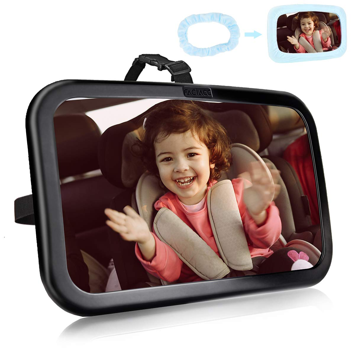 FACIACC Baby Car Mirrors for back seat, 360° Rotation Rear View Car Seat Mirror Safest Shatterproof Infant Mirror to See Rear Facing Infants, Kids and Child (Black+Blue)