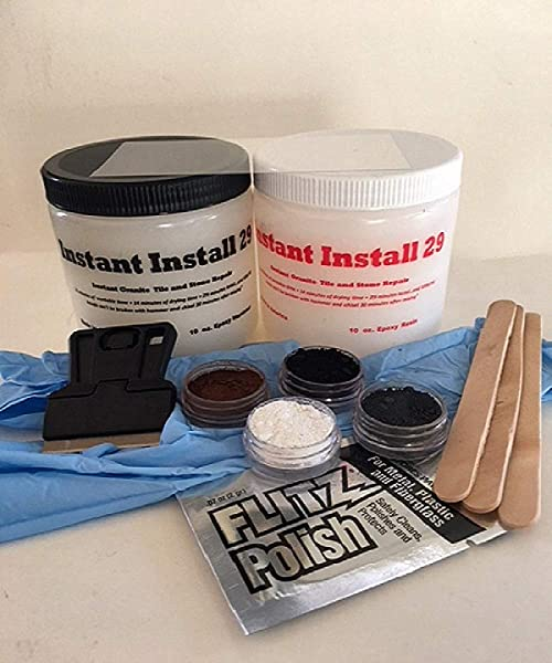 INSTANT INSTALL COMPLETE 20 Oz Kit Stone Tile Repair Black Brown White Gray EZ TINT Pigments Scraping Razor Acetate Curing Strip Gloves 3 Mix Sticks Polishing Paste