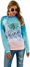 LYYVE Women Bee kind Tie Dyed Shirts Tops Fall Long Sleeve Graphic Tees Print Shirts Tunics