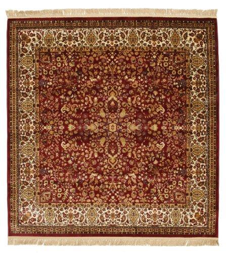 RugVista Teppich Kerman Diba, Kurzflor, 200 x 200 cm, Quadratisch, Orientalisch, Öko-Tex Standard 100, Kunstseide, Schlafzimmer, Wohnzimmer, Rot