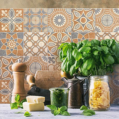24 (Piezas) Adhesivo para Azulejos 20x20 cm - PS00148 - Vetulonia - Adhesivo Decorativo para Azulejos para baño y Cocina - Stickers Azulejos - Collage de Azulejos