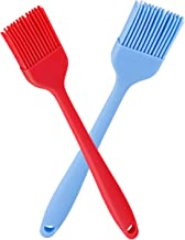 Verigle Silicone Basting Brush Heat Resistant Food Grade for for BBQ Grill Barbecue Baking Kitchen Cooking, 8.3 inch, Red&Blue