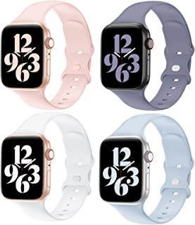 YAXIN Compatible with Apple Watch Band 38MM 40MM 42MM 44MM Women and Men,Soft Silicone Replacement Strap Band for iWatch Series 6 5 4 3 2 3 SE 4 Pack