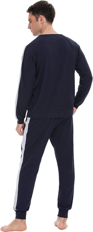 Doaraha Pijama Hombre Invierno Manga Larga Algod/ón Pijamas Camiseta y Pantalones Cuadros Celos/ía Ropa de Dormir Cuello Abotonado Suave C/ómodo 2 Piezas