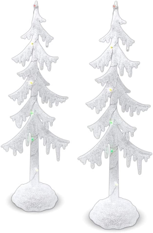 Ranking TOP16 BANBERRY DESIGNS Frosted White Same day shipping Glitter Trees - Tabl of Set 2 LED