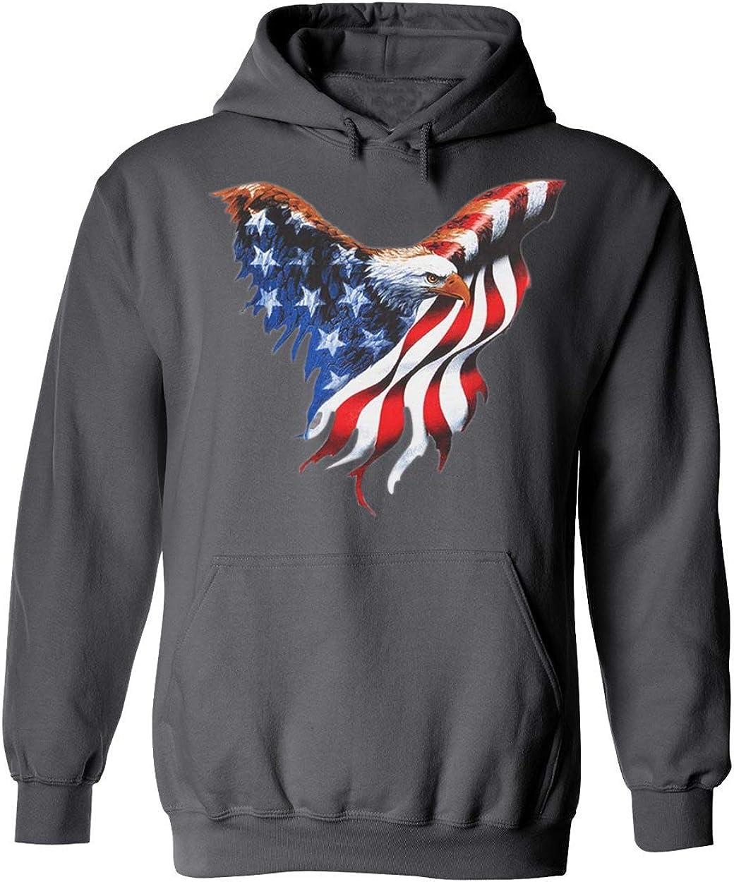 American Eagle US Flag Colors Patriotic Unisex Pullover Hoodie H