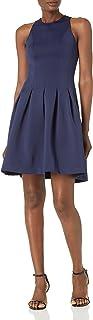 Amazon Brand - Lark & Ro Women's Sleeveless Crew Neck Pleated Fit and Flare Scuba Knit Dress