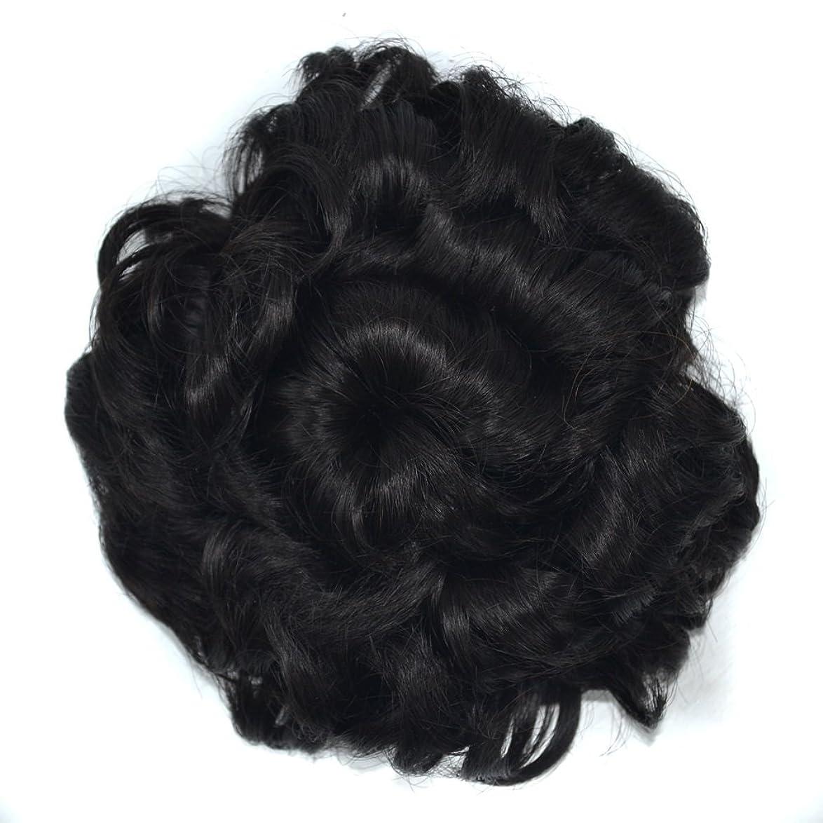 喉が渇いたセマフォ摘むJIANFU 波状のカーリーメシーヘアエクステンションウィッグシェイプのボタン付き巾着とふわふわサンフラワーウィッグヘアピース女性のヘアバンエクステンション (Color : Natural color)
