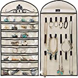 ZR&YW 32 Pockets Hanging Organizer Jewelry Storage Bag Wardrobe Closet Organizer Earrings Ring Necklace Bracelet Pouch Display Holder, Space Saving Family Wardrobe Accessories Storage Bag Black,Beige
