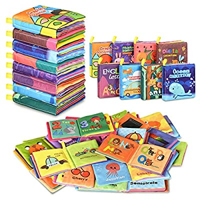 Baby Bath Books,Nontoxic Fabric Soft Baby Cloth Books,Early Education Toys,Waterproof Baby Books for Toddler, Infants Perfect Shower Toys,Kids Bath Toys Best Gift(Pack of 8)
