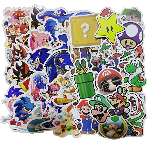 Sonic Super Mario Sticker 100pcs Anime Game Mario Cartoon Sticker Maleta impermeable DIY Portátil Guitarra Monopatín Juguete Pegatinas Encantadoras