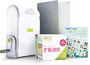 "AccuQuilt Ready. Set. GO! Ultimate Fabric Cutting System with GO! Fabric Cutter, GO! Qube 8"" Mix & Match Block, GO! Strip Cutter-2 ½"" (2"" Finished), GO! Cutting Mats: 6"" x 6"" and 10"" and more."