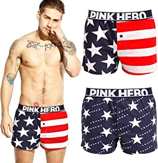 Andyshi Men's Cotton Boxer Shorts Briefs American Flag Underwear Boxers Briefs Stripe Stars Pink Hero Beach Casual Shorts