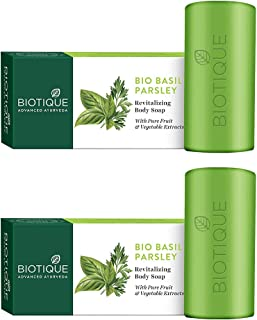 Biotique Basil And Parsley Revitalizing Body Soap, 150g (Pack Of 2)