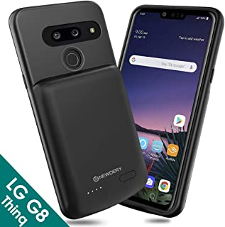NEWDERY LG G8 ThinQ Battery Case, 4700mAh Slim Rechargeable Extended Power Charging Case Compatible LG G8 ThinQ(2019)-Black