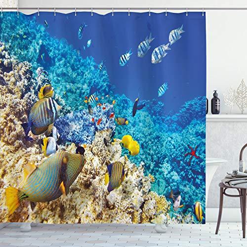 ABAKUHAUS Fisch Duschvorhang, Wasserkorallen, Moderner Digitaldruck mit 12 Haken auf Stoff Wasser & Bakterie Resistent, 175 x 200 cm, Türkisfarbene hellgelbe