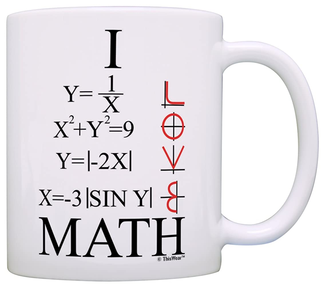 Funny Math Gift I Love Math Graphs Functions Algebra Calculus STEM Gift Coffee Mug Tea Cup White