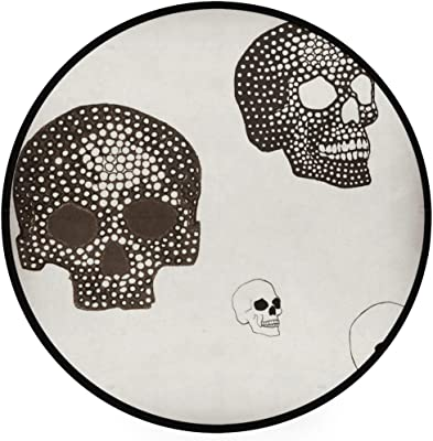 Skull Art Area Rug Round Non-Slip Carpet Living Room Bedroom Bath Floor Mat Home Decor (3 Feet Round)