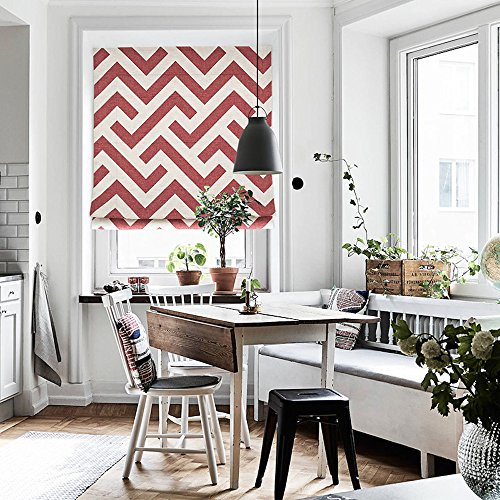 "KARUILU home Quick Fix Washable Roman Window Shades Flat Fold, Custom any width from 14"" to 70"", Geometric Color Pattern (27W x 63H, Red Line)"