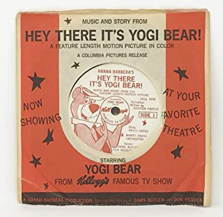 1964 Hey There It's Yogi Bear! 33-1/2 Vinyl 7 Inch Record from Kellogg's