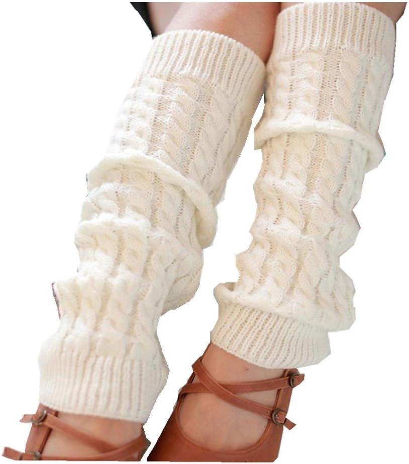 Leg Warmers,Haoricu Fashion Women Winter Warm Leg Warmers Knitted Crochet Long Socks (White)