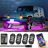 CT CAPETRONIX RGB LED Rock Lights 4 Pods, APP/1-Button Switch/RF Remote Control, Music Mode Waterproof IP68 Neon Light Kit Exterior Underglow Kit for Car Under Car for Truck ATV RZR UTV SUV Off Road