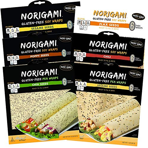 Norigami Non-GMO Gluten-Free Soy Wraps Sesame Seeds, Soy Wraps Chili, Soy Wraps Poppy Seed, Soy Wraps Flax Seeds, Pea Wraps Chia Seeds, and Pea Wraps Sesame Seeds (6 Wraps Per Pack) (6 Packs)