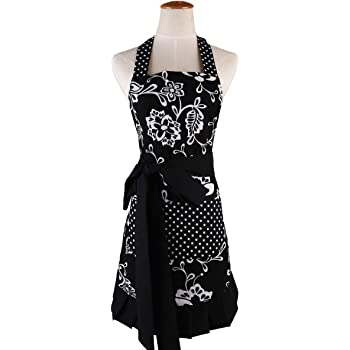 Surblue Womens Vintage Apron with 2 Pocket, Extra-Long Adjustable Tie for Cooking Home Baking Kitchen Mother's Gift,100% Organic Cotton Printing, Graceful and Flirty, Black (1 PC)