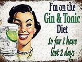 Cartel de metal vintage para decoración de pared con texto en inglés 'Gin Tonic Diet', diseño retro