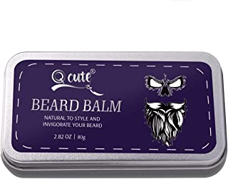 QQcute Unscented Beard Balm-Butter and Wax For Men Beard Grooming, Styling-Strengthens & Softens Beards & Mustache, Promotes Fuller Thicker Beard Growth - 2.82 Ounces Tin