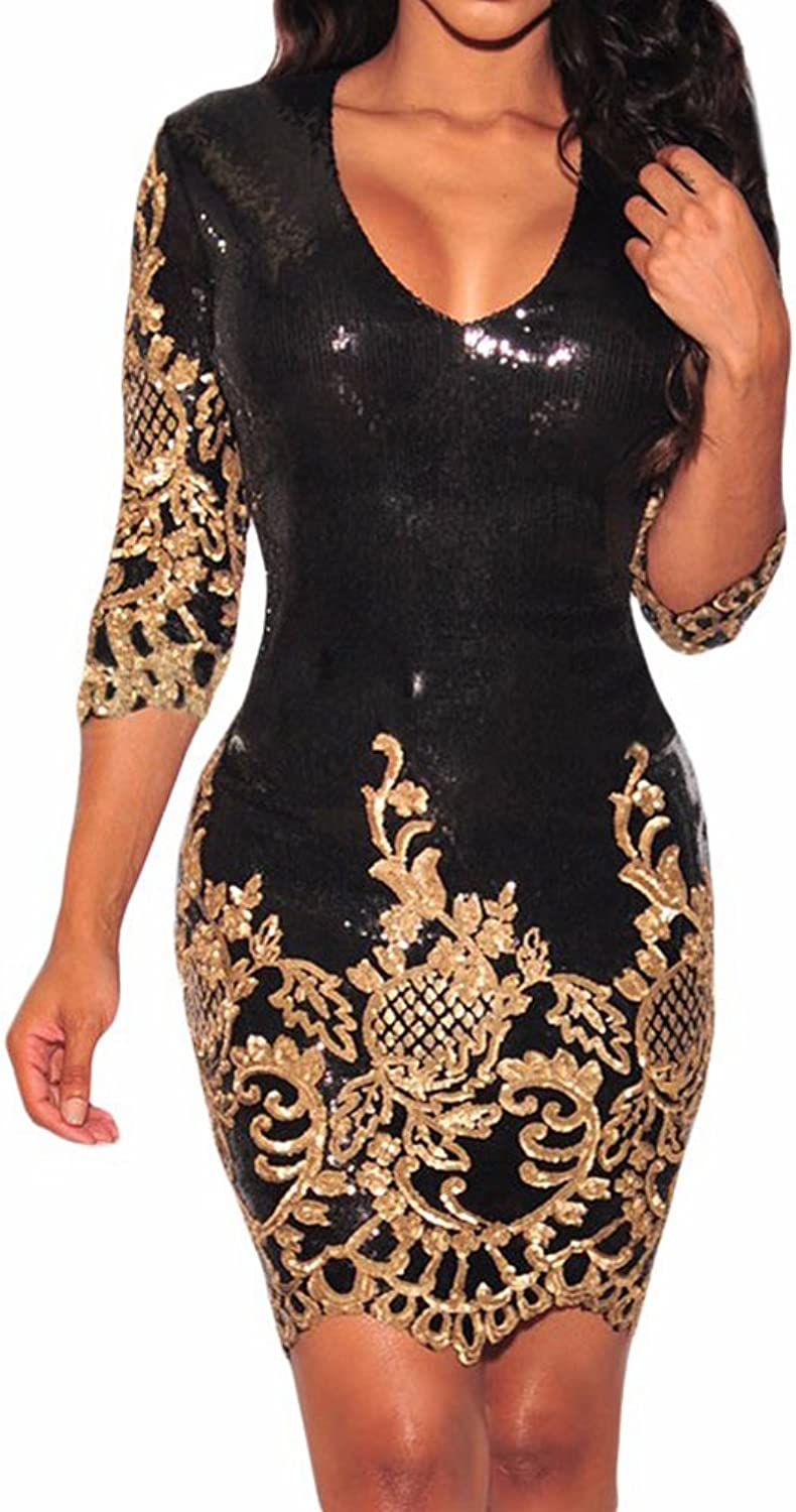 AIWEIYi Womens Vintage Black gold Sequins 3 4 Sleeves Bodycon Dress