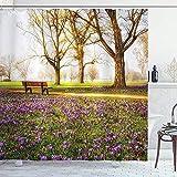 wobuzhidaoshamingzi Bauernhaus Duschvorhang, violett blühende Krokusblumen im Park mit Bäumen & Bänken Ruhige Zone Duschvorhang