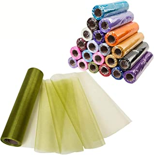 Meijuner 29CM Width X 25M Length Organza Roll Sashes Fabric Table Runner Chair Sashes Bow for Decoration (Grass Green)