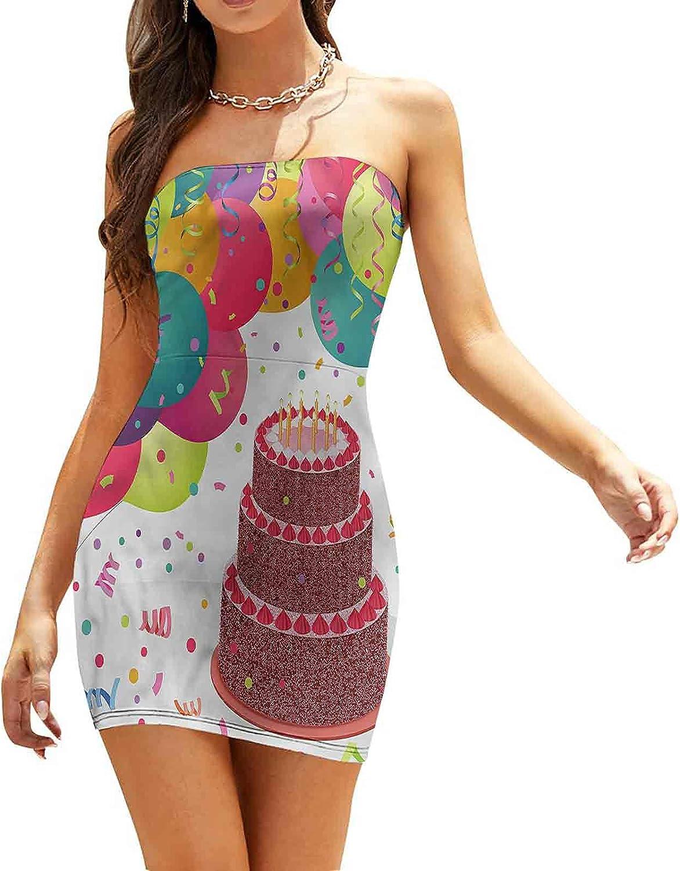 Women's Sleeveless Sexy Tube Top Dress Balloon Confetti Stars Dresses