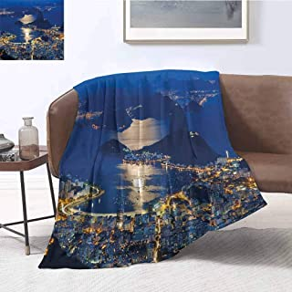 Night Luxury Special Grade Blanket Aerial View of Mountain Sugar Loaf and Botafogo Rio de Janeiro Multi-Purpose use for Sofas etc. W57 x L74 Inch Violet Blue Marigold Light Grey