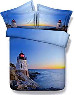 Goldeny JF-008 3pcs Bedding Sets King Size Lighthouse, Rocks and Blue sea Print Duvet Cover Set Ocean Bed Sheets Full Queen (King)