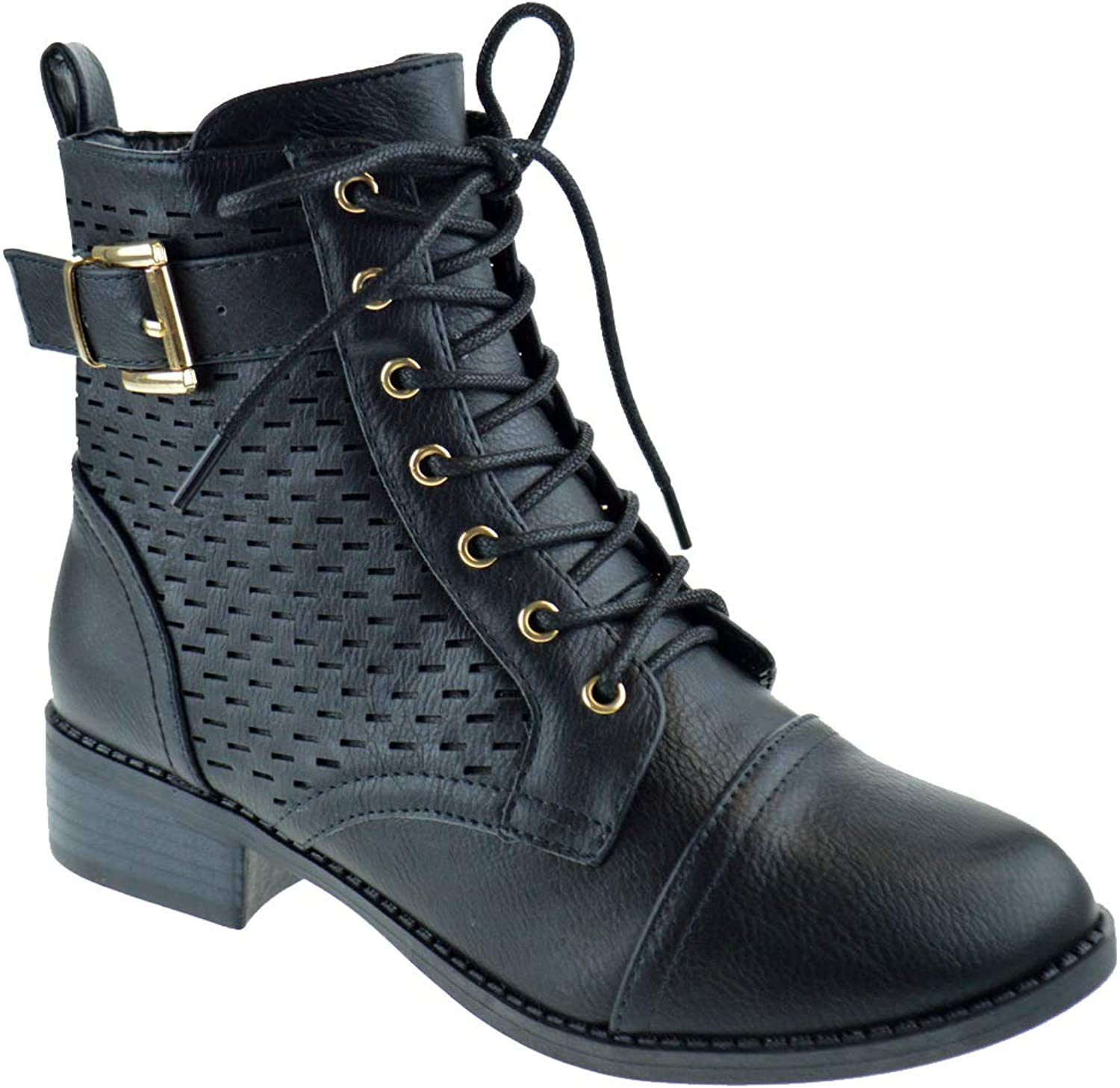 Top Moda Nelson 1 Womens Zipper Military Lace Up Combat Boots