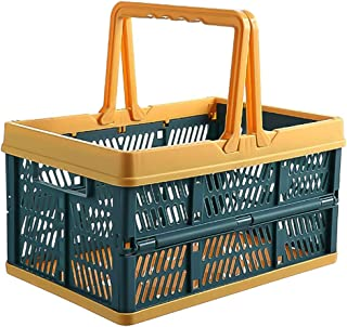 Yardwe Collapsible Plastic Grocery Shopping Baskets Laundry Basket Plastic Storage Bins with Handles (Green)