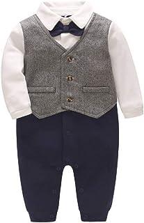 Bebé Niños Mameluco Algodón Pelele De una Pieza Corbata de Lazo Formales Trajes de Caballero 3-6 Meses