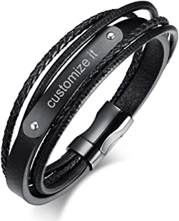Personalized Custom Engraving Multi Layered Multi-Strand Briaded Leather Bracelet for Men Cuff Bracelet