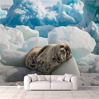 Modern 3D PVC Design Removable Wallpaper for Bedroom Living Room Crabeater seal lie on the sun in Antarctica Wallpaper Sti...