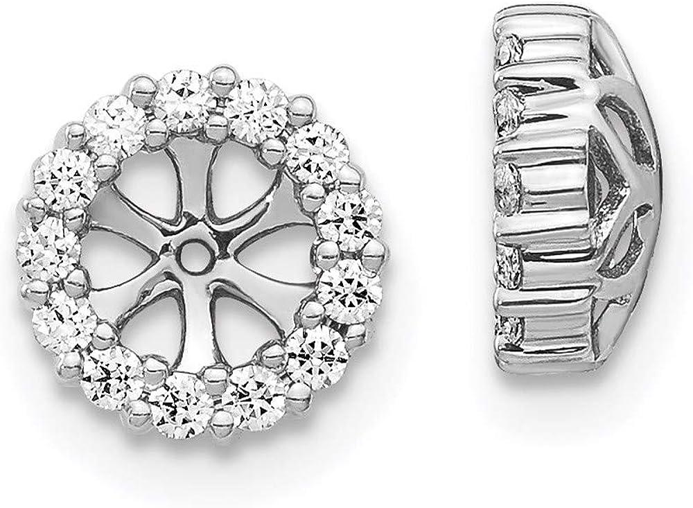 Earrings 14K White Gold Jackets & Enhancers Women'S Diamond Round 8 mm