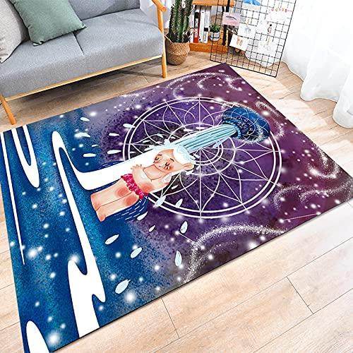 ZAZN Alfombra Impresa En 3D Patrón De Doce Constelaciones Alfombra De Sala De Estar Fresca Pequeña Cielo Estrellado Dormitorio De Dibujos Animados Alfombras De Piso De Área Grande