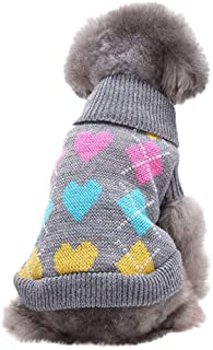 Outeck Knit Dog Pullover for Dogs Cats Lapel Sweater Heart Square Print Warm Pets Clothes Winter Pullover Dog Clothes for Dogs Puppy Kitten